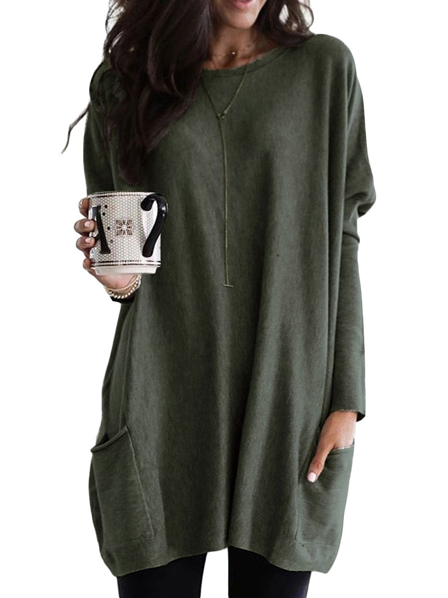 Womens Ladies Nothing to wear Tunic Pullover Oversized Baggy T Shirt Mini Dress