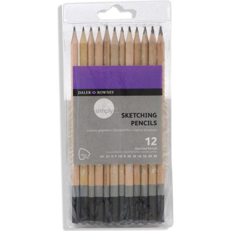 Black White Pencil Pinstripe - Daler-Rowney Simply Sketching Pencils, 12 Piece