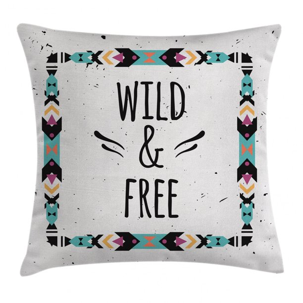 Tribal Decor Throw Pillow Cushion Cover Abstract Geometric Frame Wild And Free Quote Boho Style Art Print Decorative Square Accent Pillow Case 18 X 18 Inches Coconut Black Turquoise By Ambesonne
