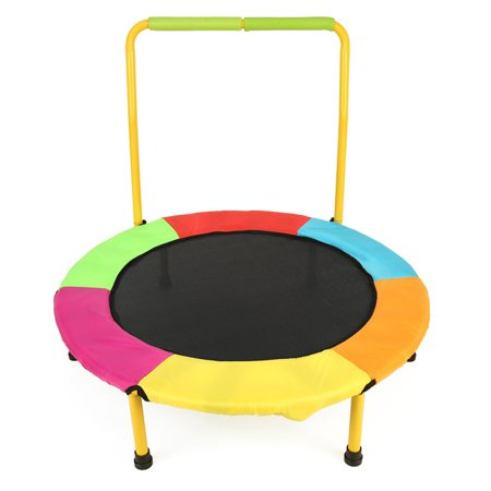 Sawpy Safe Kids Trampoline Portable & Foldable. Durable Construction with Padded Frame Cover and Handle - Colorful