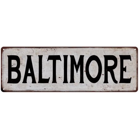 BALTIMORE Vintage Look Rustic Metal Sign Chic City State Retro 6185949