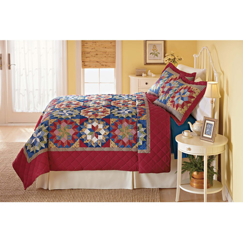 Mainstays Shooting Star Twin Bedding Quilt, Red