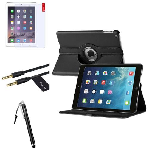 Insten Black 360 Rotate Leather Case Cover+Matte Protector+Cable For Apple iPad Air 5 5th Gen