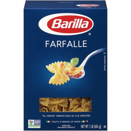 Barilla® Classic Blue Box Pasta Farfalle 16 oz At Barilla, we're passionate about pasta. After all, we have been pasta makers since 1877. As an Italian family-owned food company, Barilla pasta is synonymous with high quality and  al dente  perfection every time. Our Farfalle is made from the finest durum wheat and is non-GMO verified, peanut-free and suitable for a vegan or vegetarian diet. Farfalle in Italian means butterflies which is the perfect name to describe this elegant shape. In the U.S. it is commonly referred to as  bow-tie  pasta. Farfalle's fanciful shape allows it to star in a variety of recipes including light tomato-based sauces and pasta salads with vegetables.