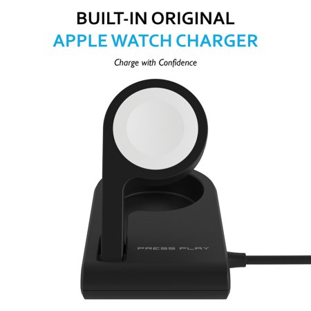 Press Play PPODSLO- BLK One Dock Solo Mfi-Certified Power Station With Built-In Apple Watch Charger (Black) The Press Play ONE Dock Solo MFI-Certified Power Station with Built-in Apple Watch Charger is the perfect combination of portability and fast charging confidence for your Apple Watch. This black charger is able to be folded flat for easy storage or transportation and features an adjustable arm that holds your Apple Watch with a built-in charger inside. Charge with confidence, charge with Press Play.