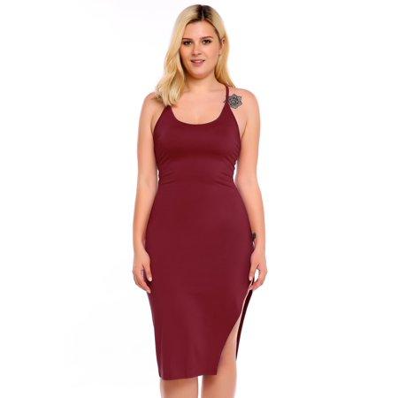 Women Plus Size Sexy Spaghetti Strap Bandage Bodycon Solid Party Clubwear Dress BEDTS - Plus Size Women Clubwear