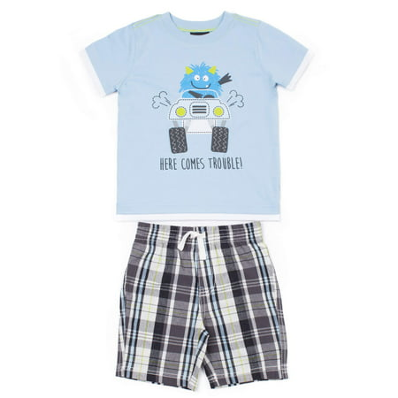 Baby Toddler Boy T-shirt & Plaid Shorts, 2pc Outfit Set