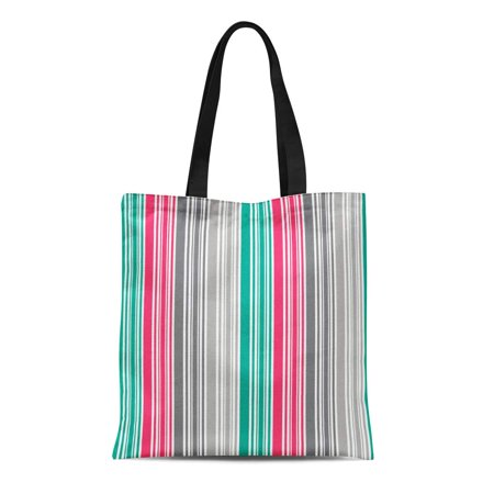 ASHLEIGH Canvas Bag Resuable Tote Grocery Shopping Bags Colorful Abstract Stripes Pink Teal and Grey Artistic Bold Bright Classic Fun Tote Bag (Pink Classic Tote)