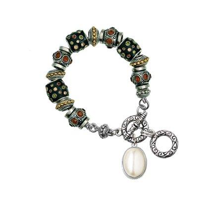Silvertone Small Cream Imitation Pearl Fall Crystal Bead Charm Bracelet Small Pearl Bracelet