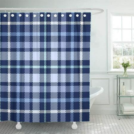 PKNMT Navy Border Tartan Plaid Pattern Traditional Checkered for Digital Blue Check Dark Shower Curtain Bath Curtain 66x72 inch