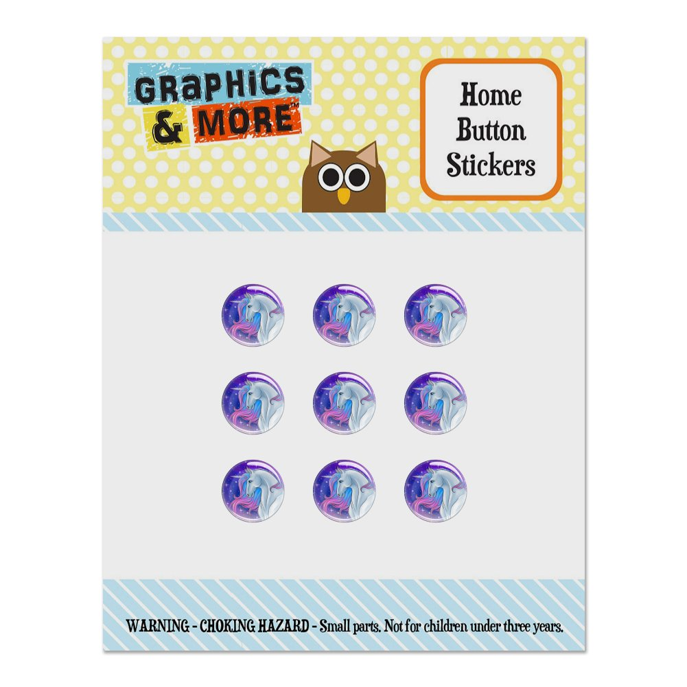Majestic Unicorn Pink Purple Blue Set of 9 Puffy Bubble Home Button Stickers Fit Apple iPod Touch, iPad Air Mini, iPhone 5/5c/5s 6/6s 7/7s Plus