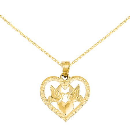 Primal Gold 14 Karat Yellow Gold Two Doves In Heart Pendant with 18-inch Chain Twinkle 14k Necklace