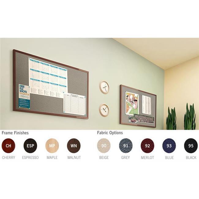 Ghent Manufacturing IMC48WNF95 47.75 x 95.75 in. Impression Classic Frame Black Fabric Bulletin Board, Walnut