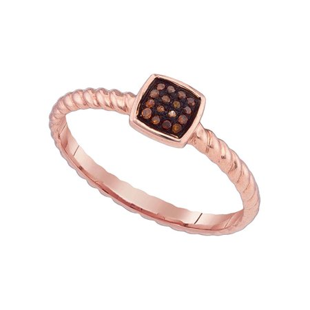 10kt Rose Gold Womens Round Red Color Enhanced Diamond Square Cluster Roped Ring 1/20 Cttw