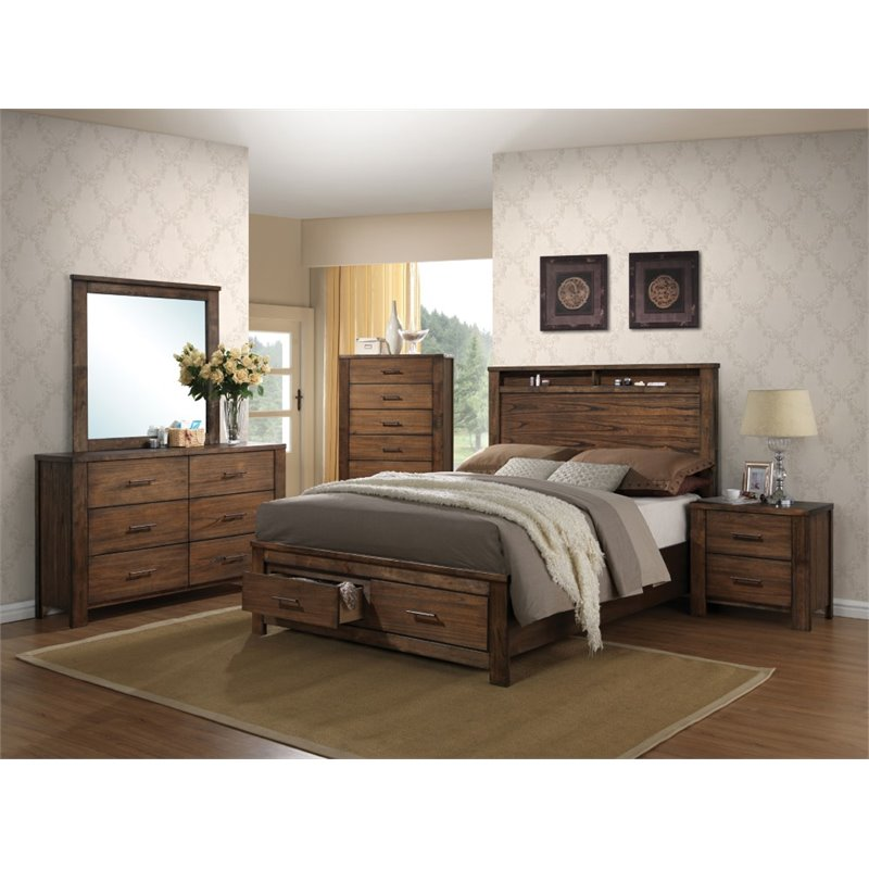 Bowery Hill Queen Storage Bed in Oak