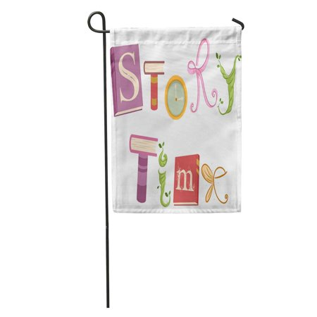 LADDKE Whimsical Featuring Vines Ribbons Wings and Storybooks That Spell The Garden Flag Decorative Flag House Banner 12x18 inch