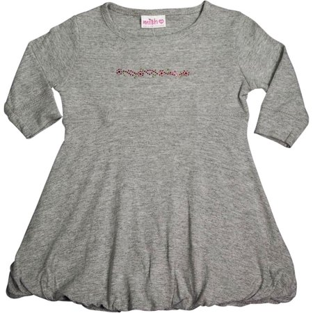 - Mish - Baby Girls - 100% Cotton - Long Sleeve Bubble Dress Grey / 18 Months