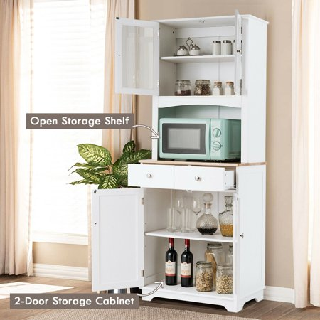 Gymax Buffet and Hutch Kitchen Storage Cabinet w/ Microwave Stand and Storage Shelves - image 8 of 10