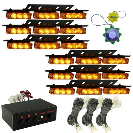 HQRP AMBER LED Emergency Warning Strobe Lights Bars for Deck Dash Grille 6 Panels 54 LEDs 12v DC + HQRP UV