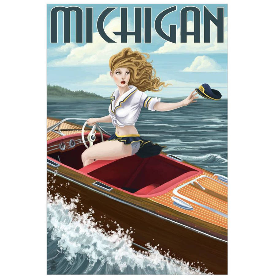 Michigan - Pinup Girl Boating: Retro Travel Poster by Eazl Cling