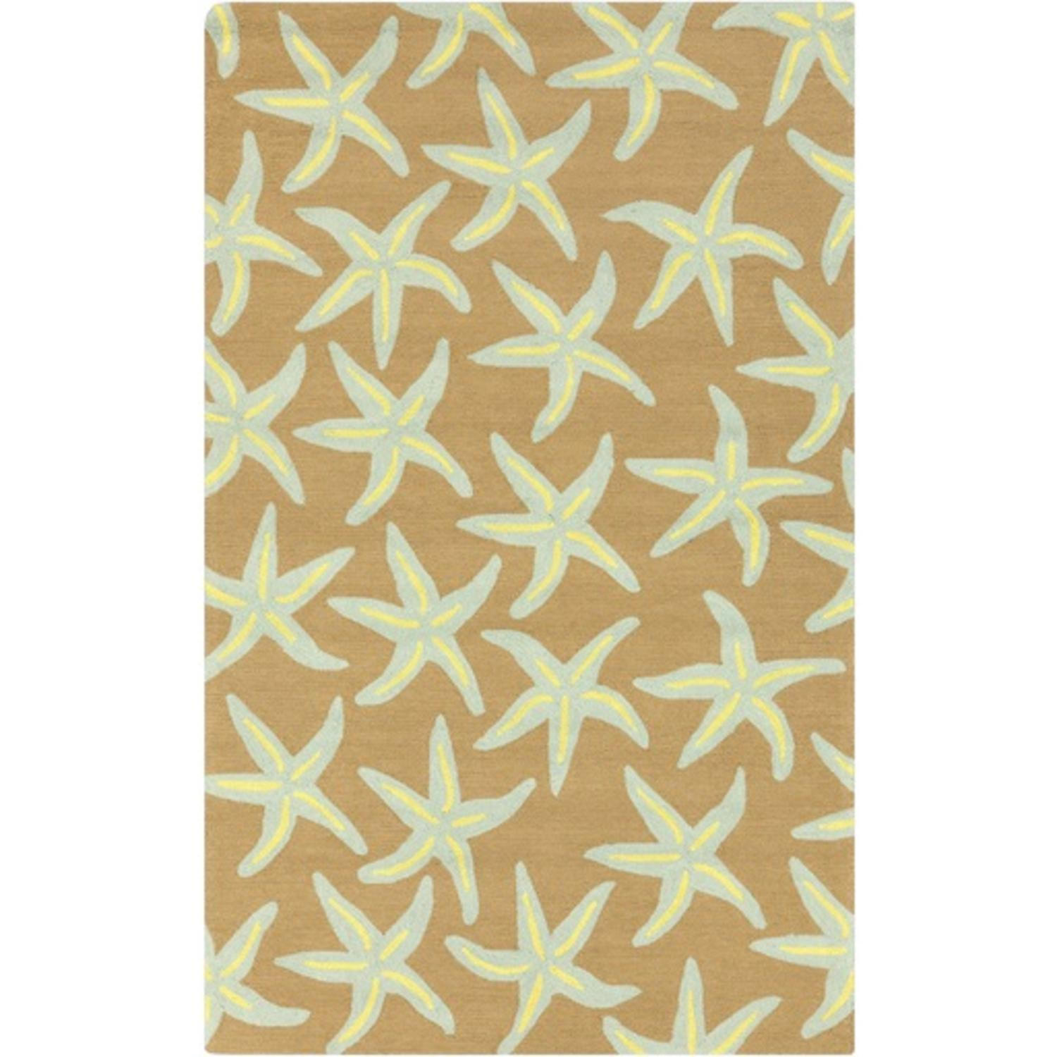 3' x 5' Starfish Delight Taupe and Off-White Hand Hooked Outdoor Patio Area Throw Rug
