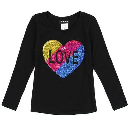 little girls black multi glitter heart details long sleeved trendy top - Girls Black Toms