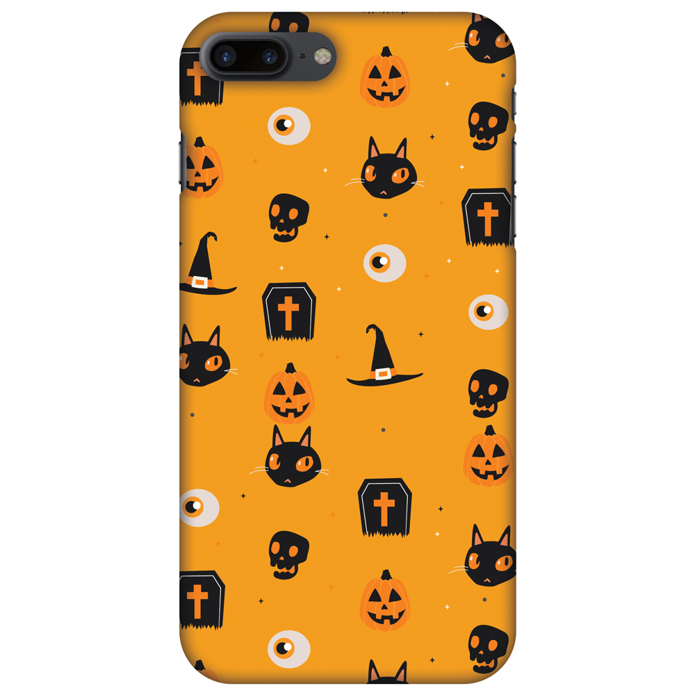 iPhone 8 Plus Case - Spooky Collage, Hard Plastic Back Cover. Slim Profile Cute Printed Designer Snap on Case with Screen Cleaning Kit