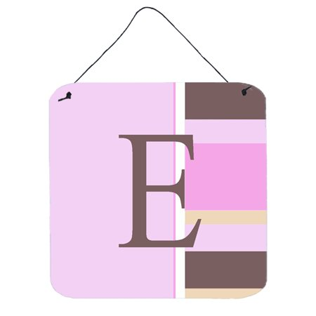 - Letter E Initial Monogram - Pink Stripes Wall or Door Hanging Prints
