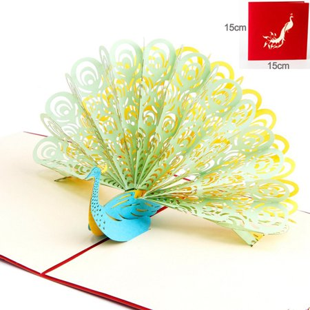 3D Pop Up Peacock Cards Wedding Lover Happy Birthday Anniversary Greeting  Card A