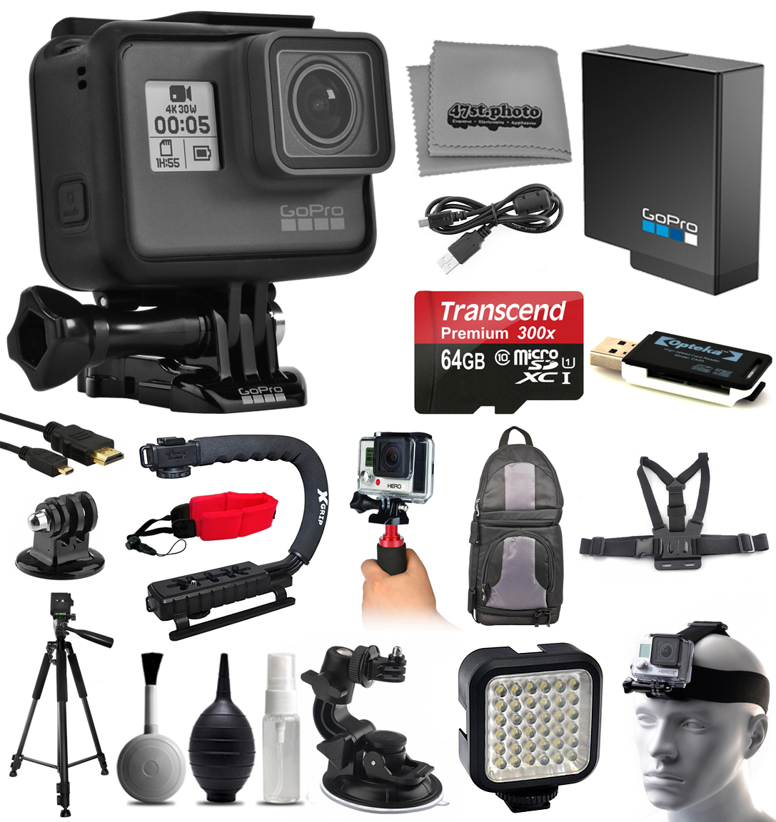 GoPro HERO5 Black Sports Action Camera with 64GB SD + Card Reader + Backpack + Chest Harness + Action Handle + Tripod