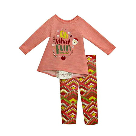 Infant  Girls Christmas Santa Oh What Fun Coral Knit Tunic and Legging Set 12 months ()