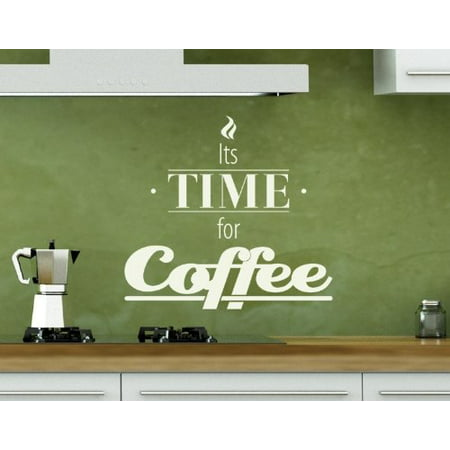 Its Time for Coffee Wall Decal - wall decal, sticker, mural vinyl art home decor, quotes and sayings - 4406 - Green, 24in x 22in - Green Sayings