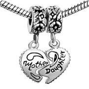 Antique Silver Design Mother Daughter Dangle Charm Bead. Compatible With Most Pandora Style Charm Bracelets.