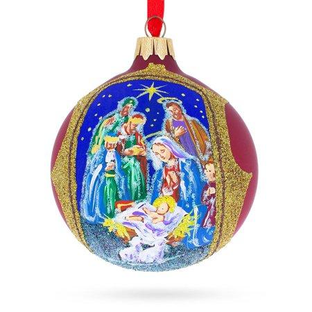 Nativity Scene in Red Tone Glass Ball Christmas Ornament 3.25 Inches