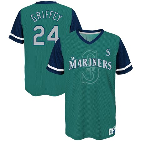free shipping b93ad 4484e Ken Griffey Jr. Seattle Mariners Majestic Youth Cooperstown Collection Play  Hard Player V-Neck Jersey T-Shirt - Aqua/Navy
