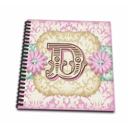 3dRose Regal Pastel Mod Damask Monogram Initial D - Mini Notepad, 4 by 4-inch](Monogrammed Notepads)