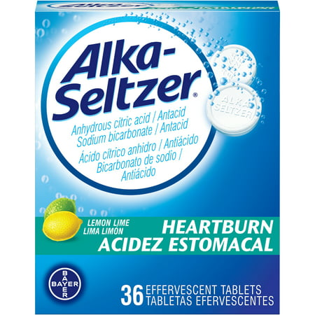 Alka-Seltzer Heartburn Lemon Lime Antacid Effervescent Tablets Bilingual 36 (Best Process Alka Green)