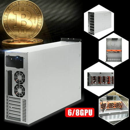 6/8 GPU 4U Miner Mining Rig Case Machine Coin Open Air Frame For Bitcoin Support 5