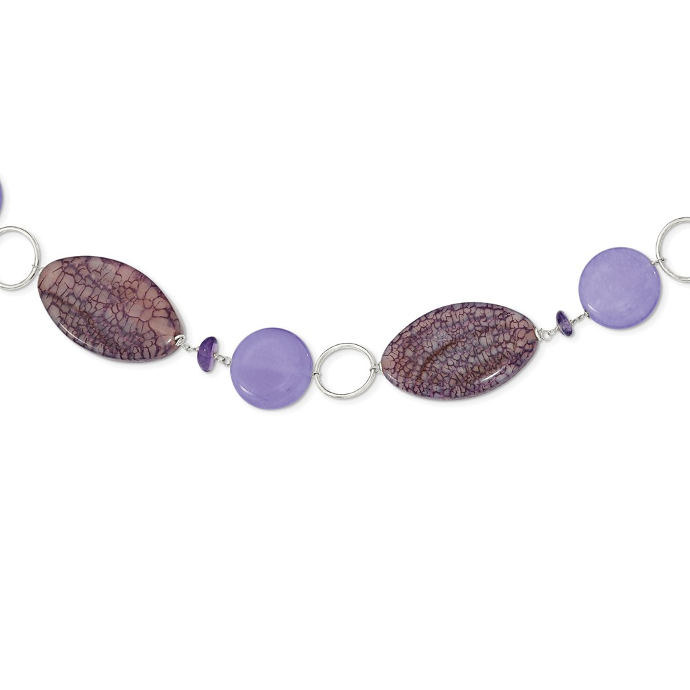 """Solid 925 Sterling Silver Lepidolite Lavender Simulated Jade Simulated Amethyst Necklace Chain 16"""" with Secure... by AA Jewels"""
