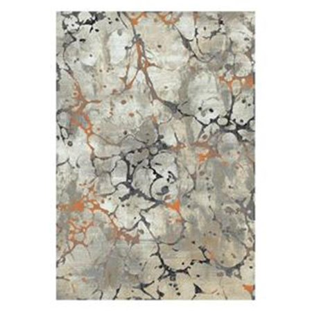 Central Oriental Polyester - Central Oriental 9707.61.67 Rainier Seattle Polypropelene & Polyester Blend Rug, Grey & Brick - 7 ft. 10 in. x 9 ft. 10 in.