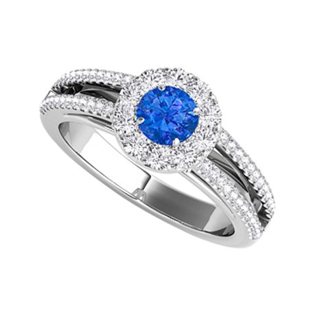 Sapphire CZ Split Shank Halo Ring in Sterling Silver - image 1 of 2