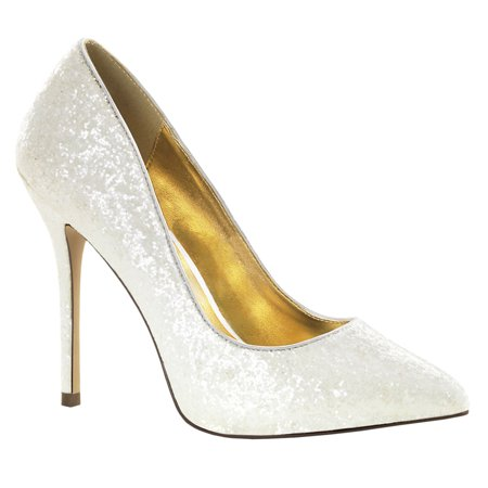 womens bridal shoes ivory pointed toe pumps glitter shoes wedding 5 inch heels