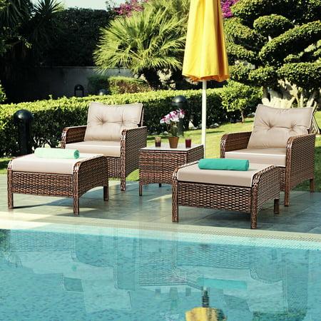 Costway 5 PCS Rattan Wicker Furniture Set Sofa Ottoman W/Brown Cushion Patio Garden Yard ()