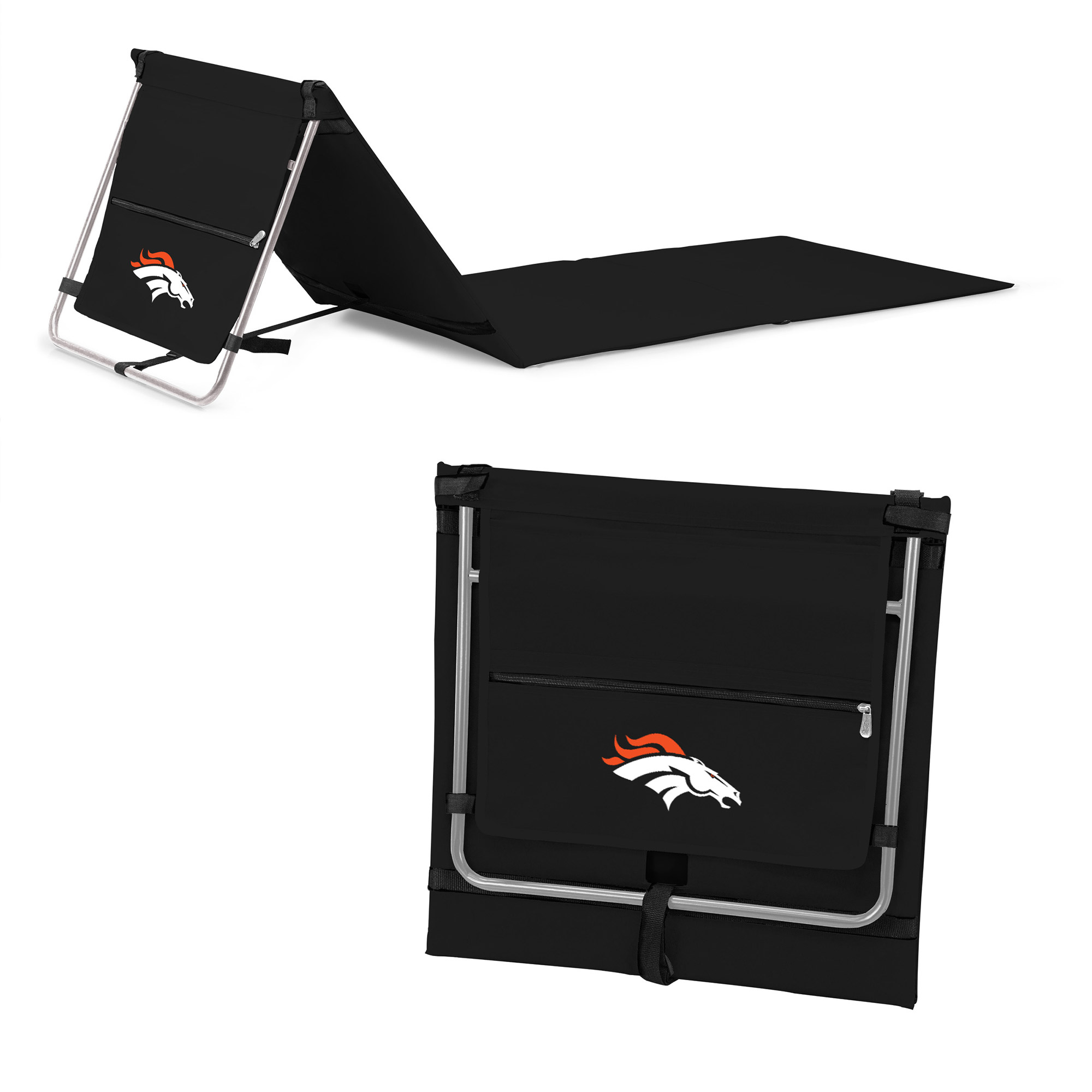 Denver Broncos Portable Lounger Beach Mat - Black - No Size