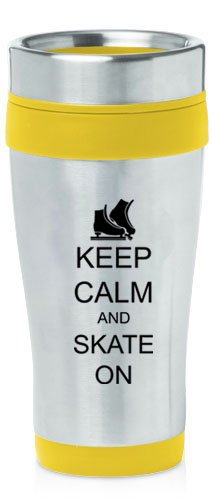 Yellow 16oz Insulated Stainless Steel Travel Mug Z1393 Keep Calm and Skate On Ice Skates by
