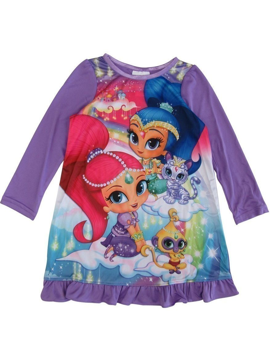 Girls Purple Shimmer Shine Long Sleeve Ruffle Nightgown