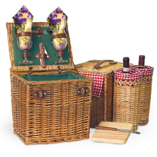 Picnic Time Vino Wine & Cheese Picnic Basket in Pine Green
