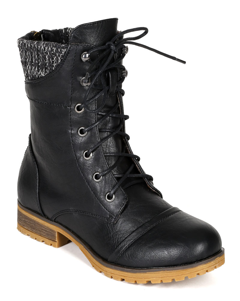 New Women Refresh Wynne-06 Leatherette Sweater Trim Lace Up Mid Calf Combat Boot