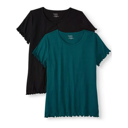 Women's Lettuce Edge Rib T-Shirt, 2 Pack Bundle