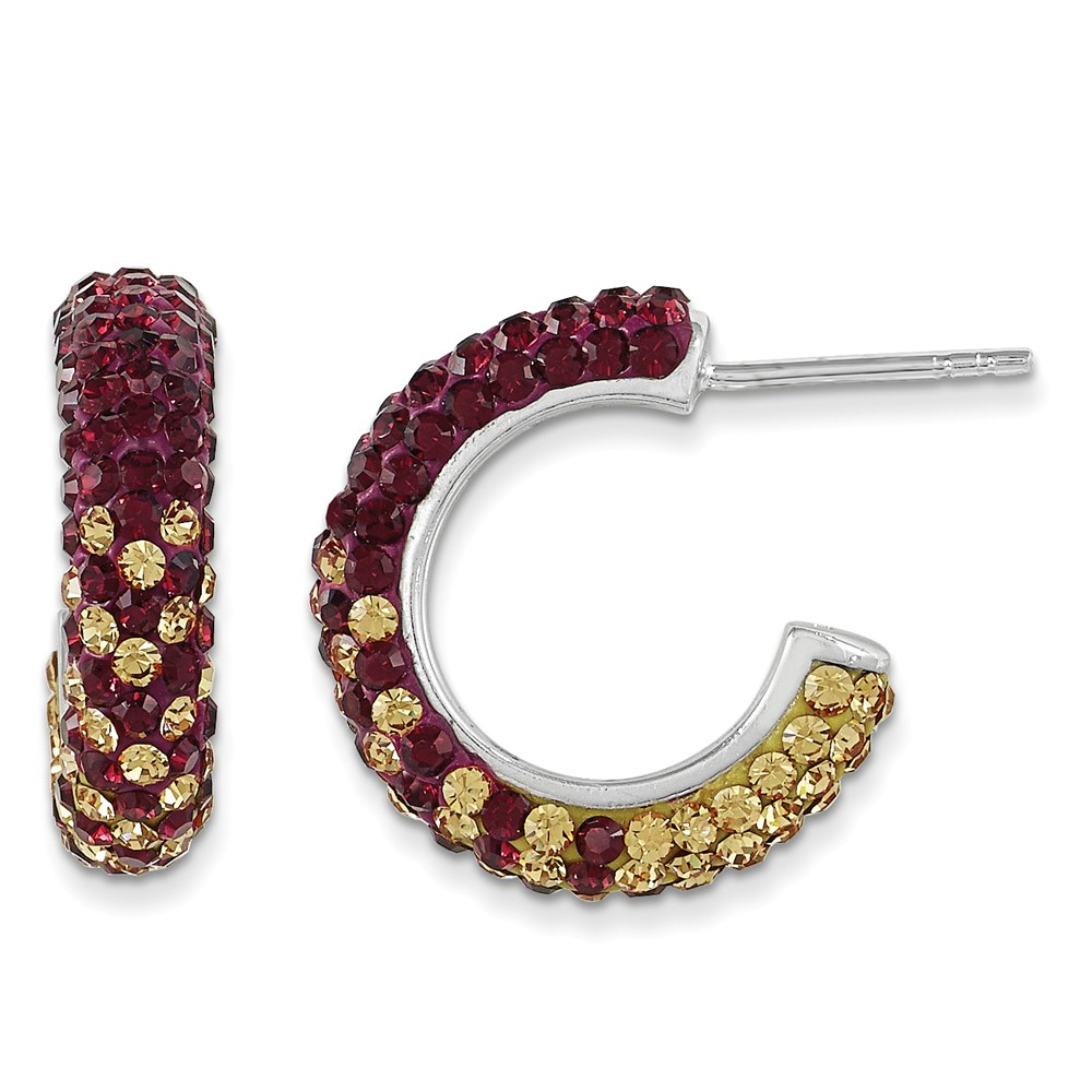 Sterling Silver Swarovski Elements Boston College Hoop Earrings